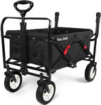 BEAU JARDIN Folding Push Wagon Cart Collapsible Utility Camping Grocery Canvas Fabric Sturdy Portable Black