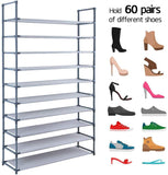 Camabel 10 Tiers Rack Shelves For 60 Pairs Non-Woven Fabric Storage Organizer Cabinet Tower Shelf Gray-shoe rack-Amagabeli