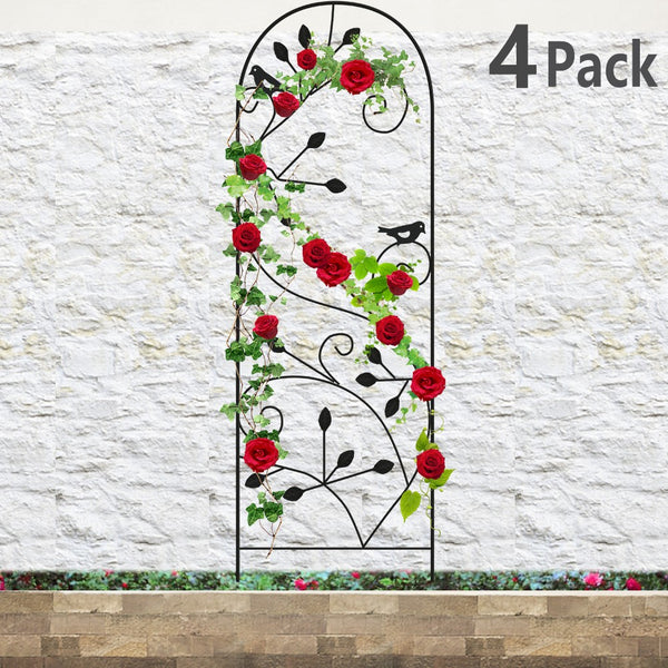 "Amagabeli 4 Pack Garden Trellis for Climbing Plants 46"" x 15"" Black Sturdy Iron Potted Support"