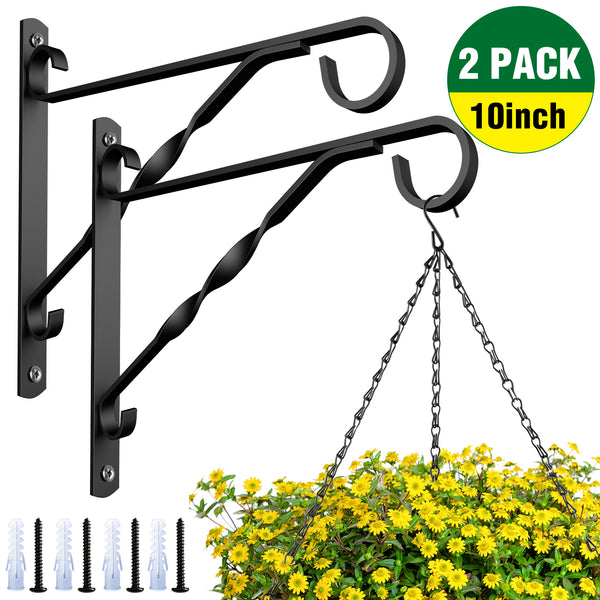 Amagabeli 2 Pack Hanging Plants Brackets 10'' Wall Planter Hooks Hangers for Flower Pot Bird Feeder Wind Chimes Lanterns Patio Lawn Indoor Outdoor