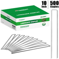 Amagabeli 10 Inch Galvanized Landscape Staples 500 Pack Garden Stakes Heavy-Duty Sod Pins Anti-Rust Fence Stakes-Landscape Staples-Amagabeli