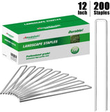 Amagabeli 12 Inch Galvanized Landscape Staples 200 Pack Garden Stakes Heavy-Duty Sod Pins Anti-Rust Fence Stakes-Landscape Staples-Amagabeli