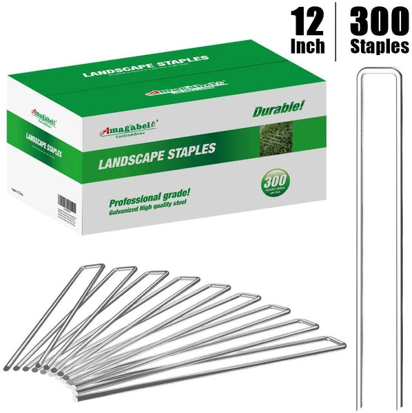 Amagabeli 12 Inch Galvanized Landscape Staples 300 Pack Garden Stakes Heavy-Duty Sod Pins Anti-Rust Fence Stakes