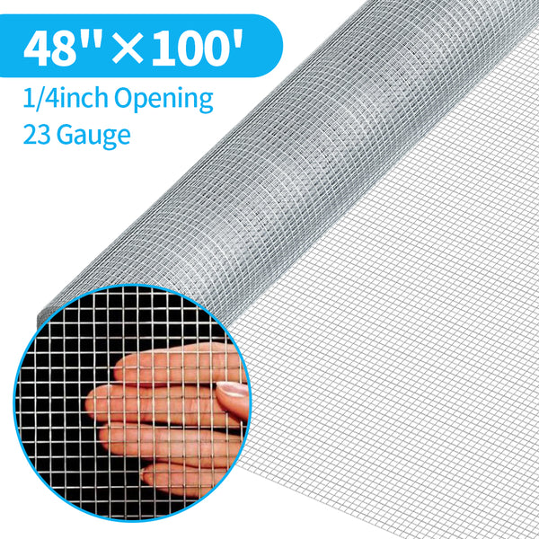 Amagabeli 48inx100ft 1/4inch 23 Gauge Square Galvanized Hardware Cloth Chicken Wire Mesh Fence Rabbit Wire Fence Poultry Netting Cage