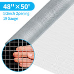 Amagabeli 48x50 Hardware Cloth 1/2 Inch 19 Gauge Square Galvanized Chicken Wire Fence Mesh Rabit Wire Fence Poultry Netting Cage Snake Fence
