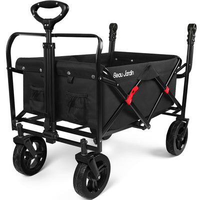 BEAU JARDIN Folding Push Wagon Cart Collapsible Utility Camping Grocery Canvas Fabric Sturdy Portable Black-folding wagon-Amagabeli