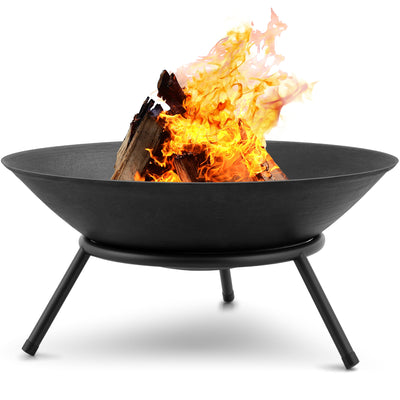Amagabeli Fire Pit Outdoor Wood Burning 22.6in Cast Iron Firebowl Fireplace Heater Log Charcoal Burner Extra Deep Large Round Camping Outside-Fireplace pit-Amagabeli