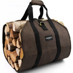 Amagabeli Fireplace Carrier Waxed Large Canvas Log Carrier Bag Indoor Firewood Storage Tote Fire Place Log Holders-Fireplace log holder-Amagabeli