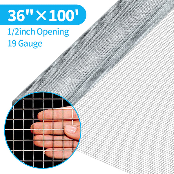 Amagabeli 36inx100ft 1/2inch 19 Gauge Square Galvanized Chicken Wire Galvanizing After Welding Fence Mesh Poultry Netting Cage Snake Fence
