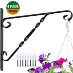 Amagabeli 4 Pack Hanging Plants Brackets 12'' Wall Planter Hooks Hangers for Flower Pot Bird Feeder Wind Chimes Lanterns Patio Lawn Indoor Outdoor