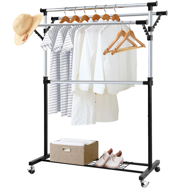 Camabel Clothing Garment Rack Adjustable Rolling Commercial Grade Heavy Duty Clothing Steel Extendable-Garment Rack-Amagabeli