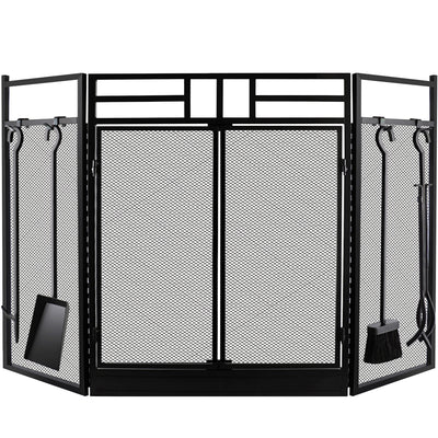 Amagabeli Fireplace Screen with Doors Large Fire Screens With Tools Outdoor Metal Wrought Iron Fire Place Panels Wood Burning Stove Accessories-Fireplace Screen-Amagabeli