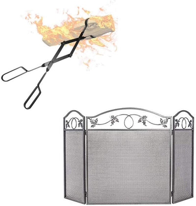 "Amagabeli 3 Panel Fireplace Screen Bundle 26"" Fireplace Log Tongs-Fireplace bundle-Amagabeli"