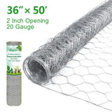 Amagabeli 2in 36inch x 50ft Hexagonal Poultry Netting Galvanized Chicken Wire Mesh Fence 20gauge Large Frame Garden Fencing