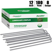 Amagabeli 12 Inch 8 Gauge Galvanized Landscape Staples 100 Pack Garden Stakes Heavy-Duty Sod Pins Anti-Rust Fence Stakes for Weed Barrier Fabric Ground Cover Artificial Turf Dripper Irrigation Tubing-Gardening&Lawn care-Amagabeli