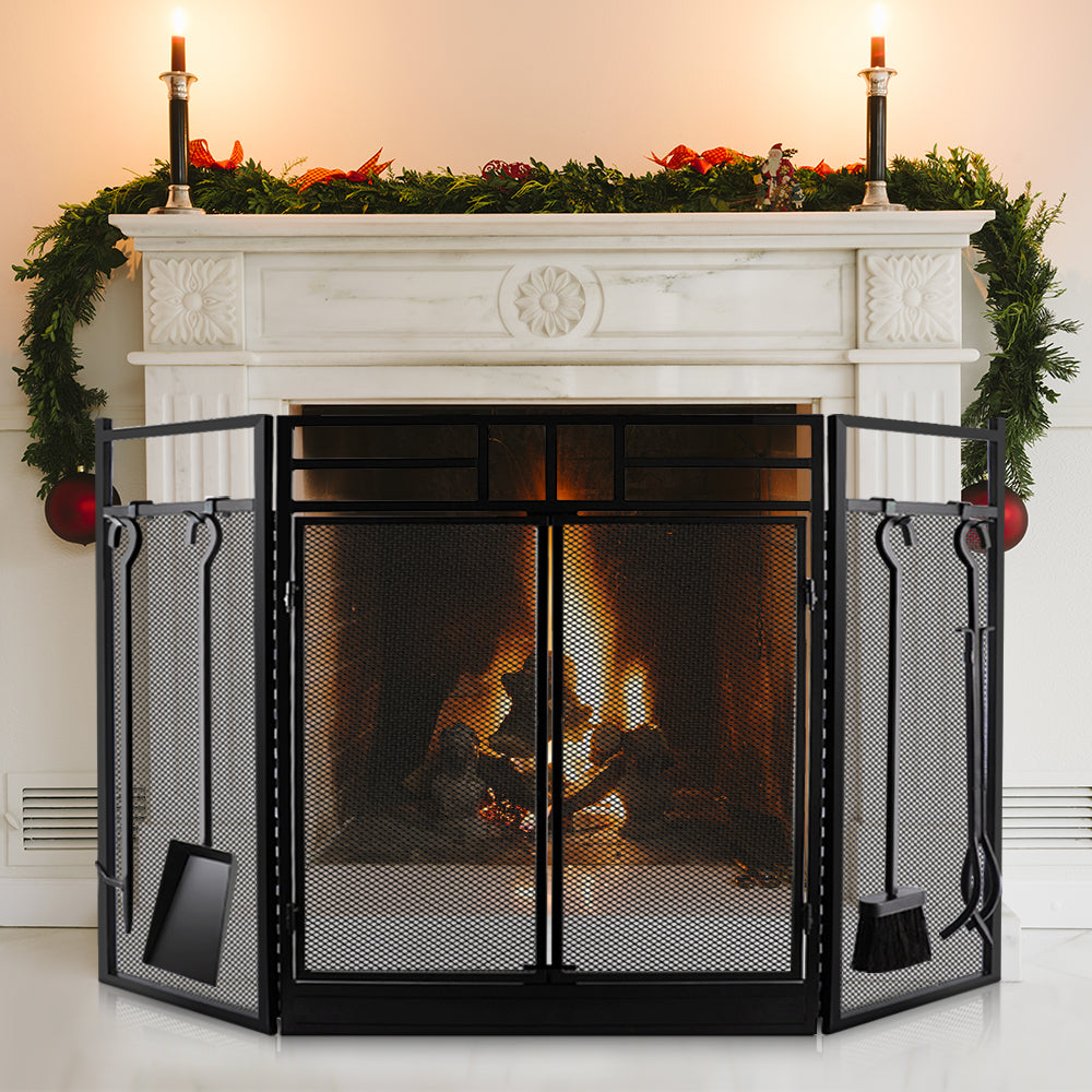 Amagabeli Fireplace Screen With Doors Large Fire Screens With Tools Ou