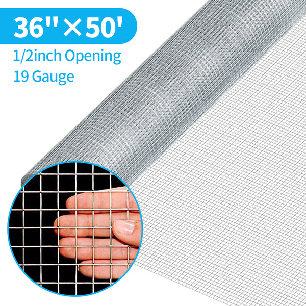 Amagabeli 36inx50ft 1/2inch 19 Gauge Square Galvanized Chicken Wire Galvanizing After Welding Fence Mesh Poultry Netting Cage Snake Fence