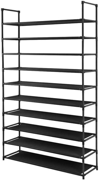 Camabel 10 Tiers Rack Shelves For 60 Pairs Non-Woven Fabric Storage Organizer Cabinet Tower Shelf Black