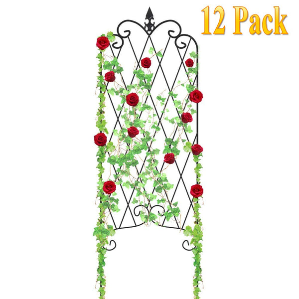 "Amagabeli 12 Pack Garden Trellis for Climbing Plants 47"" x 16"" Rustproof Sturdy Black Iron Trellis for Potted Plants Support Lattice Metal GT01-Trellises-Amagabeli"