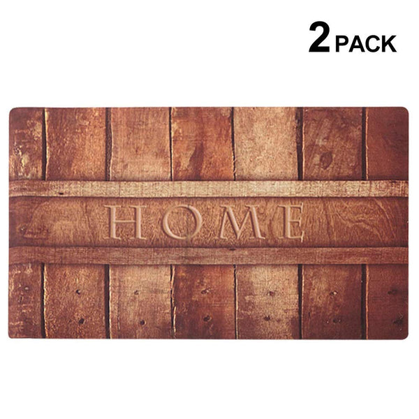 2 Pack Rubber Indoor Doormat Rustic Entrance Welcome Mat 30X18 Heavy Duty Low Profile Front Door Home Decor Non Slip Entryway Rug for Garage Kitchen