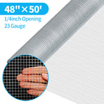 Amagabeli Galvanized Hardware Cloth 48inx50ft 1/4inch 23 Gauge Square Rabbit Chicken Wire Mesh Fence Chicken Coop