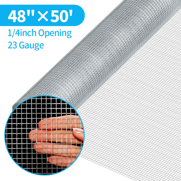 Amagabeli 48inx50ft 1/4inch 23 Gauge Square Galvanized Chicken Wire Galvanizing After Welding Fence Mesh Poultry Netting Cage Snake Fence
