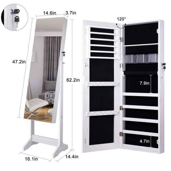 Door Mirror Jewelry Organizer : Cabinet Organizer Armoire Box Storage Over the Door Mirror Lockable Standing Wall Door Mounted