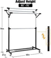 Camabel Clothing Garment Rack Adjustable Rolling Commercial Grade Heavy Duty Clothing Steel Extendable