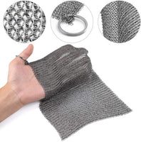"Amagabeli 8""x8"" Cast Iron Cleaner Mesh Premium 316 Stainless Steel Small Rings with 3.8mm Opening Chainmail Scrubber for Cast Iron Pans-Amagabeli"