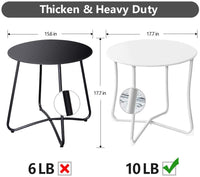 "Amagabeli Metal Patio Side Table 18"" x 18"" Heavy Duty Weather Resistant Anti-Rust Outdoor End Table Small Steel Round Coffee Table White"
