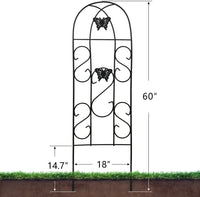 "Amagabeli Garden Trellis for Climbing Plants 60"" x 18"" Rustproof Black Iron Butterfly Potted Vegetables Flowers Patio Metal Lattices 12 Pack GT04"