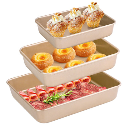 Amagabeli Nonstick Bakeware Set of 3 Pieces Bread Pan Baking Pan Cookie Sheets 9/11/13 inch Carbon Steel Cake Pans Bread Tray Bake Mold Roasting Pan Cooking Oven Toaster Pan Golden-Baking-Amagabeli