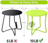"Amagabeli Metal Patio Side Table 18"" x 18"" Heavy Duty Weather Resistant Anti-Rust Outdoor End Table Small Steel Round Coffee Table Lime Green"