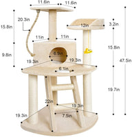 BEAU JARDIN Cat Tree Condo Furniture with Scratching Posts 47.5 Inch Cat Activity Tree Heavy Duty Corner Cat Tower Pet House Beige