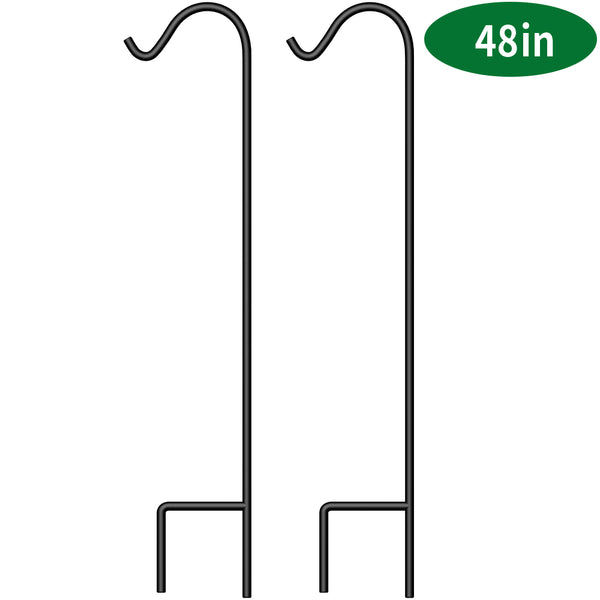 BEAU JARDIN 2 Pack Shepherd Hook 48 inch 2/5 inch Thick Premium Heavy Duty Rust Resistant Garden Outdoor Hanging Plants Basket Pathway Light Wedding-Shepherd Hook-Amagabeli