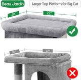 Beau Jardin Cat Tree for Large Cats Condos and Towers for Big Cats with Perch and Condo Cat Tree House with Scratching Post Cat Activity  Condos