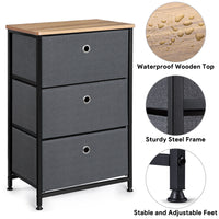 "Camabel 28"" Vertical Dresser Storage Tower with 3 Drawers Large Capacity Fabric Nightstand Drawer-Dresser Storage Tower-Amagabeli"