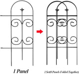 Amagabeli Garden Fence 32inx10ft Decorative Garden Fencing 8 Panels Rustproof Black Iron Border Fence Edging Metal Wire Fencing Animal Barrier-Decorative Fences-Amagabeli