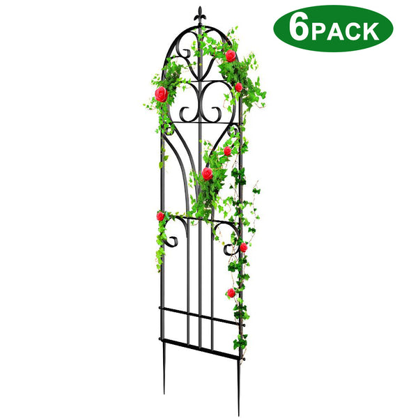 "Amagabeli 6 Pack Large Garden Trellis for Climbing Plants 71"" x 19"" Heavy Duty Rustproof Black Iron Plant Trellis"