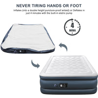 Camabel Air Mattresses with Built-in Electric Pump 22 Inch Queen Size Elevated Raised Inflatable Airbed