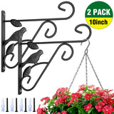 Amagabeli 2 Pack Hanging Plants Brackets 10'' Wall Planter Hooks Hangers for Flower Pot Bird Feeder Wind Chimes Lanterns Patio Lawn Garden Indoor-Plant Hook-Amagabeli