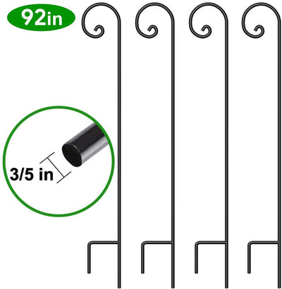 BEAU JARDIN 4 Pack Shepherd Hook 92in 3/5in Thick Hummingbird Bird Feeder Pole Premium Heavy Duty Garden Plants Basket Hanger Pathway Wedding Metal-Shepherd Hook-Amagabeli