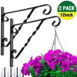 Amagabeli 2 Pack Hanging Plants Brackets 12'' Wall Planter Hooks Hangers for Flower Pot Bird Feeder Wind Chimes Lanterns Patio Lawn Indoor Outdoor