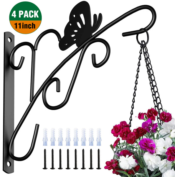 Amagabeli 4 Pack Hanging Plants Brackets 11'' Wall Planter Hooks Hangers for Flower Pot Bird Feeder Wind Chimes Lanterns Patio Lawn Indoor Outdoor