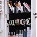 Jewelry Cabinet Organizer Full Length Glass Mirror Armoire Stand Store Chains Wire Earrings Beaded Necklace Bracelet Ring Holder Box Standing Storage Frameless Lockable 3 Angel Adjustable White