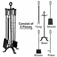 Amagabeli 5 Pieces Fireplace Tools Tool Set Wrought Iron Fire Set Fire Place Pit Poker Wood Stove Log Tongs Holder Tools Kit Sets with Handles Black-Fireplace Tools-Amagabeli