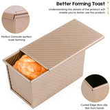 "Amagabeli Nonstick Bakeware Loaf Pan with Cover 8.4""x4.5""x4.1"" Carbon Steel Bread Toast Mold for Baking Flat Toast Box for Cooking Oven Baking Roasting Toaster Bake Mold Homemade Cakes Baking Golden-Amagabeli"
