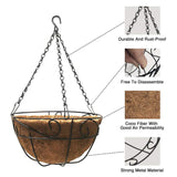 Metal Hanging Planter Basket with Chain, 4 Packs 12 Inch