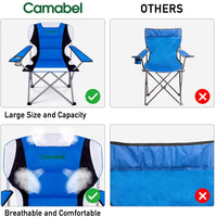 Camabel Folding Camping Chairs Outdoor Lawn Chair Padded Foldable Sports Chair Lightweight Fold up Camp Chairs