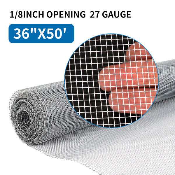 Amagabeli 36in x 50ft 1/8 inch Hardware Cloth 27 Gauge Galvanized Chicken Wire Mesh Fence Rabit Wire Fence